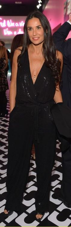 Who made  Demi Moore's black sequin jumpsuit that she wore in Los Angeles on January 10, 2013?
