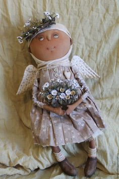 Купить Полевые цветы.Ангел - бежевый, текстильная кукла, ароматизированная кукла, интерьерная кукла, ангел