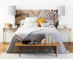 Creative DIY Headboard - using wallpaper, very simple & perfect for rental
