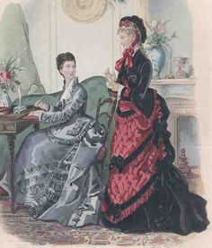 1875- always a sucker for any black and red dress