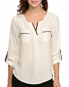 Live this preppy white blouse with black accents! Blouse Styles, Blouse Designs, Mode Glamour, Casual Outfits, Fashion Outfits, Boho Fashion, Short Tops, Casual Tops, Shirt Blouses