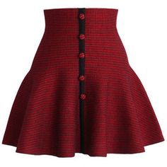 Chicwish Buttons Up Knitted Skater Skirt in Red