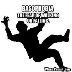 Basophobia - The fear of walking or falling.