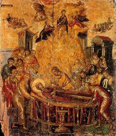 El Tránsito de la Virgen (1565) Domenikos Theotokopoulos, El Greco. Temple al huevo sobre tabla. 62.5 x 52.5 cm. Localización: Iglesia de la Dormición de la Virgen. Ermoupolis. Syros