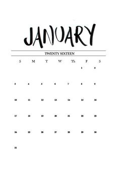 Free Printable Hand Lettered January Calendar 2016! - Miss Caly