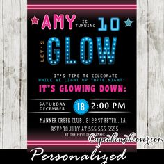 Glow in the dark dance party invitations for a fun girls night celebration featuring pink and blue neon typography against a black backdrop. Perfect girls sweet 16 dance party or for a dance birthday party for a wide range of ages from tweens to teens! #cupcakemakeover