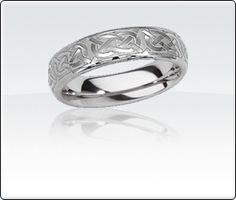 Men's Tungsten Carbide Engraved Ring: Love Knots. <3