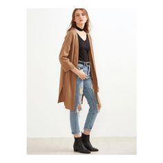 SheIn(sheinside) Khaki Slit Side Cuffed Long Cardigan ($25) ❤ liked on Polyvore featuring tops, cardigans, khaki, long slit top, slit sleeve top, white 3/4 sleeve cardigan, long cocoon cardigan and long sleeve tops