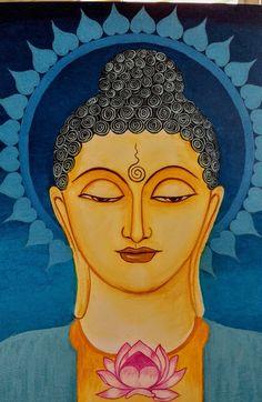 Budha Painting, Kerala Mural Painting, Krishna Painting, Indian Art Paintings, Buddha Drawing, Buddha Art, Madhubani Art, Madhubani Painting, Ganesha Art