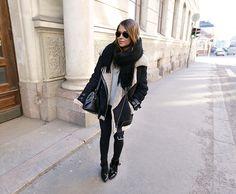 Coat & Scarf: Acne Jeans: Topshop. Boots: Zara. Bag: Saint Laurent