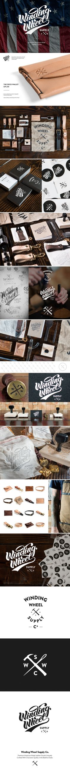 Winding Wheel Supply Co on Behance Brand Identity Design, Branding Design, Logo Design, Graphic Design, Corporate Branding, Logo Branding, Stationary Design, Brand It, Creative Logo