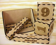 Each calendar consists of 2 large blocks with the numbers engraved onto them, and 3 smaller oblong blocks with the months of the year. Simply arrange the blocks to show the date and the month. The calendar is not year specific so it will last forever and makes a simple but stylish addition to any desk. There is plenty of space for branding on the back so they would work perfectly as promotional gifts.