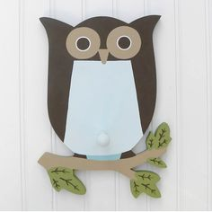 Blue And Brown Owl Wall Decor
