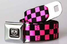 Amazon.com: Buckle-Down Dodge Ram Pink and Black Checkered Belt: Clothing
