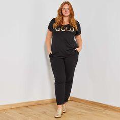Maglietta loose messaggio  Gold  Taglie forti donna - nero - Kiabi - 10 4e5be390315