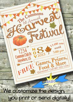 Harvest Festival ~ FALL FEST ~ Church or Community Event ~ 5x7 Invite ~ 8.5x11 Flyer ~ 11x14 Poster ~ 300 dpi Digital Invitation