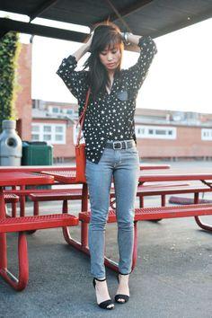 Romwe Oversized Splicing PU Star Black Shirt ($36.99) Found by Neon Blush