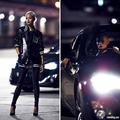 On View Outfit Details ~ Black Sequin Jacket & Leather Pants