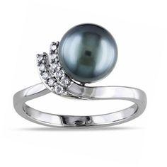 FINE JEWELRY 1/10 CT. T.W. Diamond & Genuine Black Tahitian Pearl 10K White Gold Ring