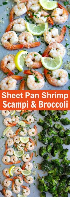 Sheet Pan Shrimp Scampi and Roasted Broccoli the best shrimp scampi and Parmesa.-- Sheet Pan Shrimp Scampi and Roasted Broccoli the best shrimp scampi and Parmesan broccoli in one pan. So easy delicious and dinner takes 20 mins Fish Recipes, Seafood Recipes, Cooking Recipes, Healthy Recipes, Healthy Dishes, Delicious Recipes, Healthy Foods, Soup Recipes, Tasty