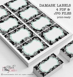 Damask printable labels digital labels black and by BlackCatsMedia