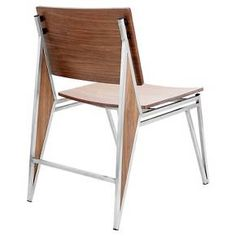 tetra dining chair stainless steelwalnut wood set of lumisource target