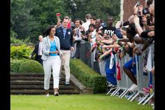 """First Lady Michelle Obama is introduced during a """"Let's Move! London"""" event for American military children and American and British students to engage them in the spirit of the 2012 Summer Olympic Games, at Winfield House in London, England, July 27, 2012. (Official White House Photo by Sonya N. Hebert)"""
