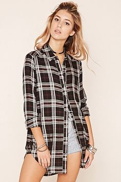 Tartan Plaid Longline Shirt
