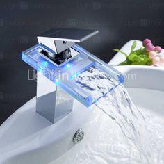 Sprinkle® - el cambio de color baño llevó cascada grifo del fregadero con el pop-up de residuos (cromado)