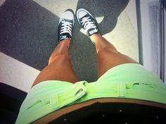 i need bright shorts Neon Shorts, Shorts And Converse, Cute Shorts, Bright Shorts, Summer Outfits, Girl Outfits, Cute Outfits, Fashion Outfits, Fashion Kids