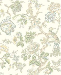 WA7737 | Waverly Classics, Blue and White Casa Blanca Rose Floral Wallpaper | TotalWallcovering.Com