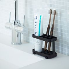 """Yamazaki Home Europe on Instagram: """"TOWER TOOTHBRUSH STAND Silicon feet prevent scratches on the surface. Easy to clean thanks to removable bottom. Silikonfüße schützen…"""" Toothbrush Organization, Bathroom Organization, Bathroom Storage, Small Bathroom, Master Bathroom, Basement Bathroom, Toothbrush And Toothpaste Holder, Bathroom Pictures, Bathroom Ideas"""