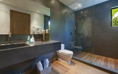 salle de bain en gris tendance maison de vacances