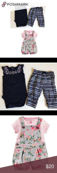 Girls Outfit Navy Blue 2pc Set 3mo So Adorable 🌼 Sweet Baby Girls Outfit by Just one you Carter's Size 3 months  💗Adorable Carters Shortalls  ~ Overalls . Mint Condition - Vibrant colors. Worn once & hung to dry.  💙 Sweet 2pc Outfit- Pants are super comfy cute! - embroidered flowers on navy blue onesie style top. Excellent Condition- only worn once before outgrown. Hung to dry only. Just One You, Carter's Matching Sets