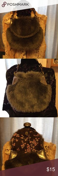 Faux Fur Handbag Purse cute This is a sweet little purse. It's the perfect winter bag when you are going out and just want to throw a few things into a cute, lightweight bag. It's in excellent condition. Hardly ever used. Made by The Gap. The Gap Bags