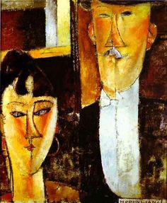 I love Modigliani! My home just wouldn't be complete without this piece. Bride and Groom (aka The Newlyweds) 1915 1916 by Amedeo Modigliani Amedeo Modigliani, Modigliani Paintings, Italian Painters, Italian Artist, Art Nouveau Pintura, Thomas Saliot, Henri De Toulouse Lautrec, Art Gallery, Edvard Munch