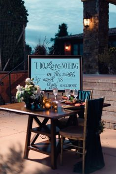 Wedding sign with Shakespeare quote