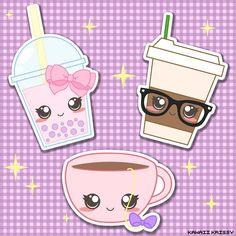 Kawaii Bubble Tea, Cute Chic Coffee, and Cute Tea Cup custom Stickers at kawaiikrissy.tictail.com #Bubbles