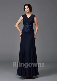 V-neck Appliques Navy Chiffon Sleeveless A-line Zipper Floor Length Mother Of The Bride Dresses