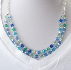 Inspirations of gently moving water over the rocks in the stream! Blue & Green Two Strand Necklace With Heart Clasp by #BranchPondJewelry