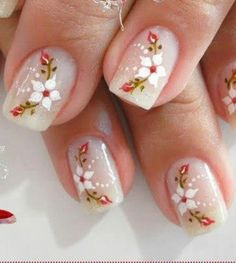 Like these flowers and the designs Creative Nail Designs, Beautiful Nail Designs, Creative Nails, Nail Art Designs, Fancy Nails, Cute Nails, Pretty Nails, Manicure Nail Designs, Nail Manicure