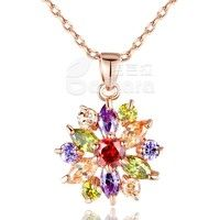 Barbara丨Multi Color AAA Cubic Zircon 18K Rose Gold Plated Flower shape Pendants Necklaces