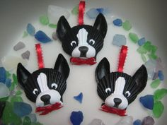 Mini Boston Terrier Ornaments set of 3 by Lorishellart on Etsy, $33.00