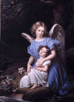 Guardian Angel At The Brook Artwork By Joseph Karl Stieler Oil Painting & Art Prints On Canvas For Sale Guardian Angel Pictures, Angel Images, Your Guardian Angel, Catholic Art, Religious Art, Angel Drawing, I Believe In Angels, Ange Demon, Angels Among Us