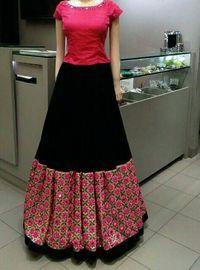 skirt & top   mirror work