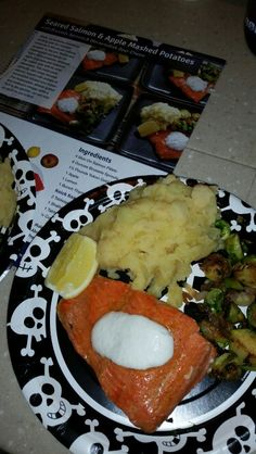 Seared Salmon & Apple Mashed Potatoes with Brussels Sprouts & Horseradish Sour Cream