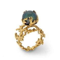 CORAL PEARL Black Pearl Ring 18K Gold Pearl Ring by AroshaTaglia, $350.00