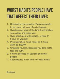 Worst habits list, bad habits to change, self help, personal growth, personal development Life Advice, Good Advice, Life Tips, Motivational Quotes, Inspirational Quotes, Quotes Positive, Positive Thoughts, Mental Training, Self Improvement Tips