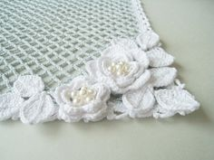 Crochet Doily - Square Lace Doily with Swarovski Pearls Tablecloth Table Decor Home Decor Bridal Shower Gift, via Etsy.