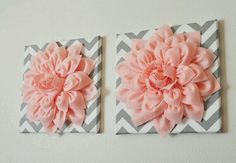 Chevron and flower wall decor. Good for baby room or bathroom decor